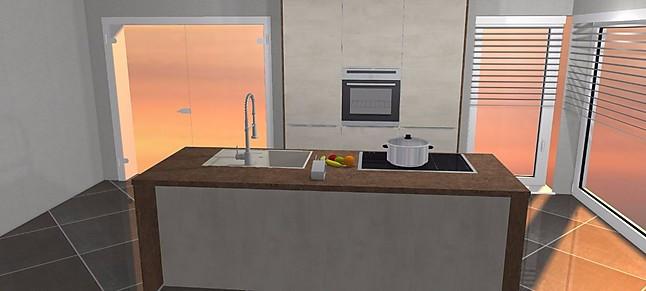 Nobilia küchen weiss hochglanz u form  Nobilia-Musterküche Nobilia Riva Weiß Beton / Ferro Bronze moderne ...