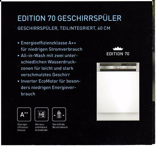 Spülmaschine Edition Teilintegriert Geschirrspüler A