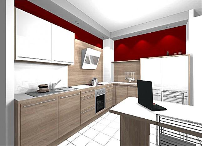 hausmarke musterk che moderne l k che in eiche nb mit lack wei hochgl nzenden fronten abgesetzt. Black Bedroom Furniture Sets. Home Design Ideas