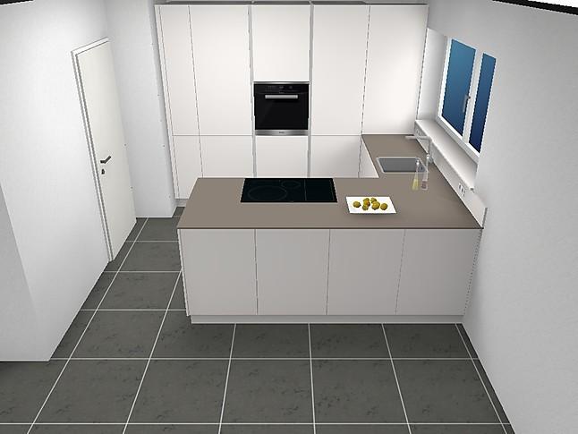 Global Küchen 3084/6 Aktionsküche U Form In Schichtstoff Kristallweiß Matt