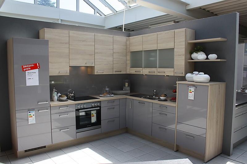 nobilia musterk che moderne graue hochglanzk che in l form ausstellungsk che in bensheim von. Black Bedroom Furniture Sets. Home Design Ideas