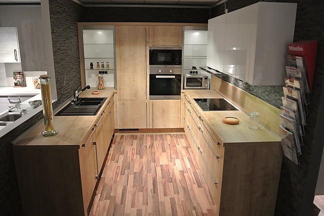 Moderne U-Form Küche in Eiche Provence / Glasfront inkl. Miele  Marken-Elektrogeräte