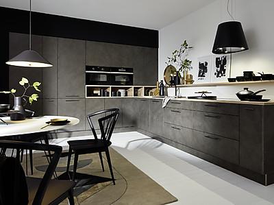 L-Küche Lucca mit Front in Zement Anthrazit