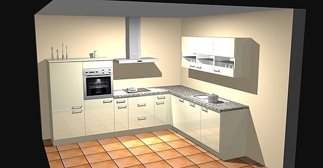 Moderne L-Küche mit massiver Granitarbeitsplatte