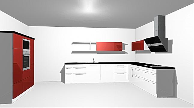 Ballerina-Musterküche Küche weiß und rot Hochglanz Lack ...