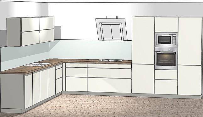 bauformat musterk che hochglanz echtlack cremfarbe 430 cm x 350 cm ausstellungsk che in rostock. Black Bedroom Furniture Sets. Home Design Ideas