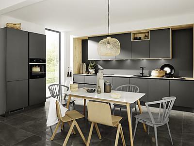 Grifflose Küche im grauen Farbton Graphit