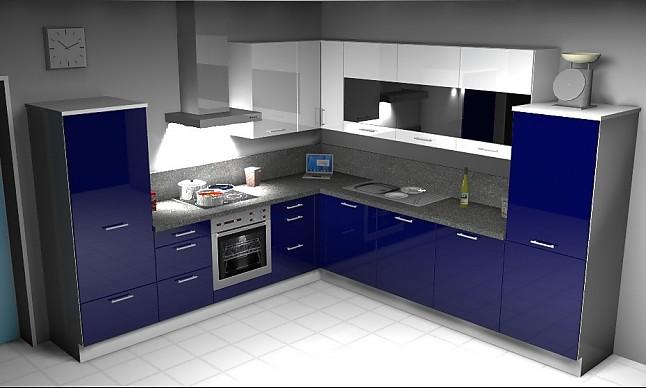KitchenclicK-Musterküche L-Küche mit blauer Hochglanzfront ...