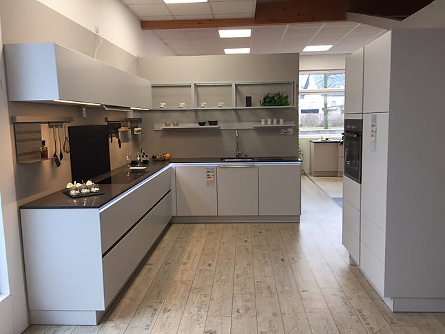 bauformat-Musterküche klare, moderne L-Küche mit Quarzstein ...