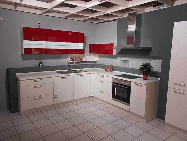 nobilia musterk che l k che in softmatt wei und hochglanz rot ausstellungsk che in castrop. Black Bedroom Furniture Sets. Home Design Ideas