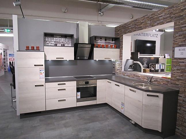 Nobilia-Musterküche Moderne L-Küche in Eiche Halifax ...