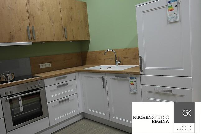 Bauformat arktis seidenmatt lack einbauküche in l form in weiß und wild oak
