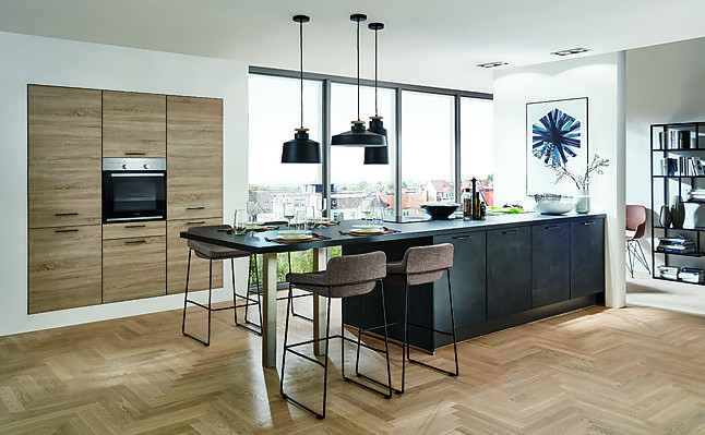 linea musterk che moderne einbauk che mit insel mit. Black Bedroom Furniture Sets. Home Design Ideas