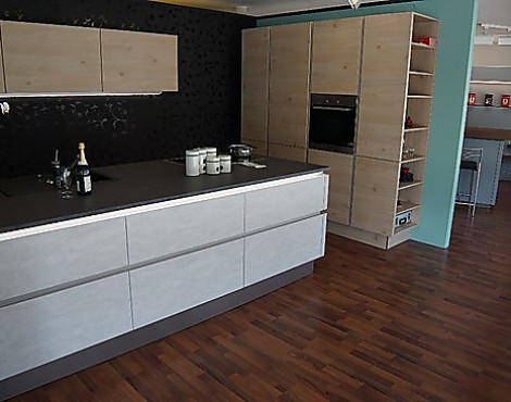 Nolte Design Küche, Grifflos, Mit Koch Insel   S70 Stone Kombiniert