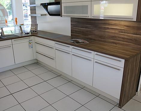 Nobilia küche in l form und separaten geräteblock speed weiß softmatt