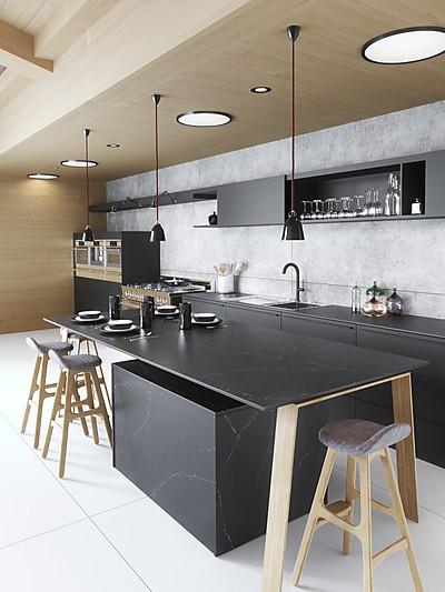 Moderne Küche mit Silestone Arbeitsplatte