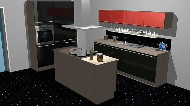 kitchenclick musterk che schwarze inselk che mit hochglanz front ausstellungsk che in von. Black Bedroom Furniture Sets. Home Design Ideas