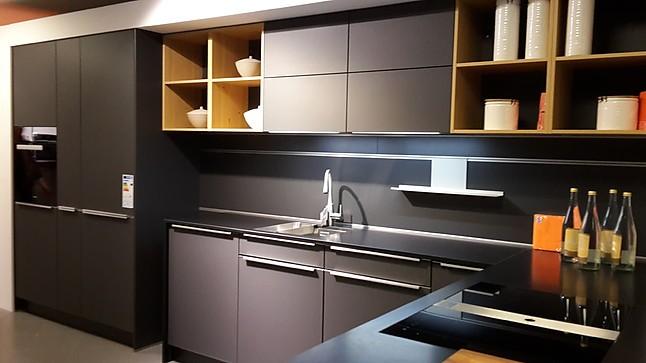 sch ller musterk che elegante einbauk che glasline matt lavaschwarz ausstellungsk che in. Black Bedroom Furniture Sets. Home Design Ideas