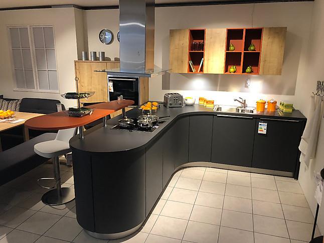 Global Küchen-Musterküche moderne T-Küche anthrazit matt lackiert ...