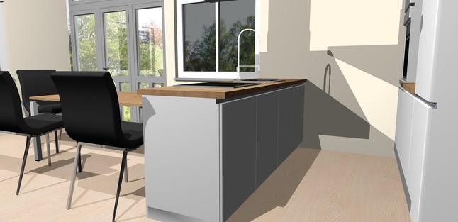 h cker musterk che umplanbare k che inkl insel tisch hochbackofen freih ngendem dunstabzug. Black Bedroom Furniture Sets. Home Design Ideas