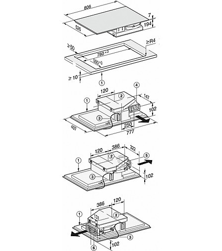 kochfeld mit dunstabzug kmda 7774 fr originalverpacktes neuger t volle garantie. Black Bedroom Furniture Sets. Home Design Ideas