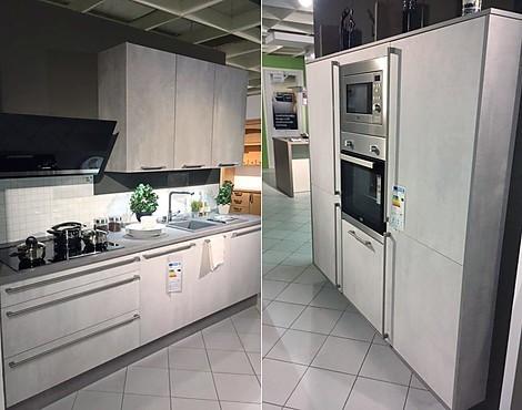 Moderne kleine küche mit geräten comet spachtelbetonoptik opalgrau perlgrau