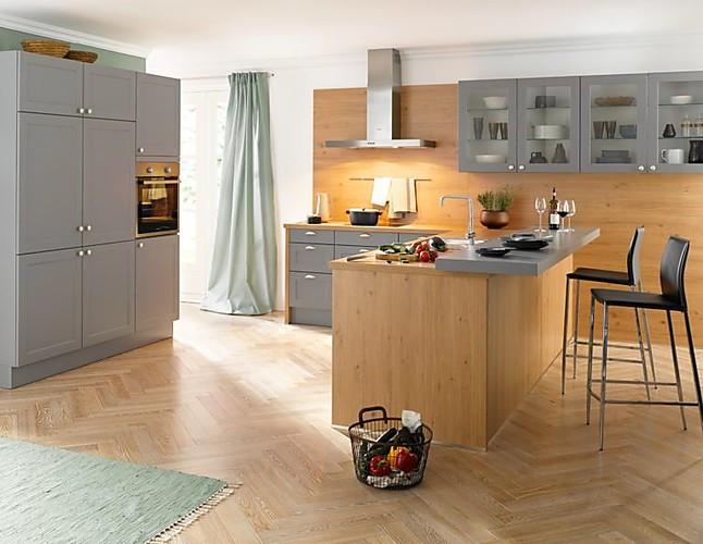 Global Küchen 55.230/55.100 Landhausküche Mit Grauen Satinlack Fronten