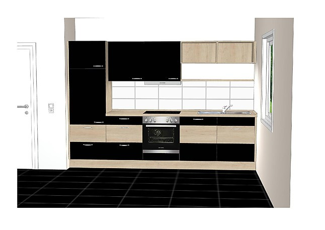 nobilia musterk che lack schwarz ultra hochglanz eiche san remo nachbildung. Black Bedroom Furniture Sets. Home Design Ideas