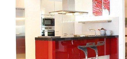 Rote Küche in hochglanz Lack, Karlsruher Küchen Atelier