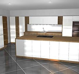 Wohnküche In Weiß Hochglanz Mit Holz. Hochbackofen, Dampfgarer,  Geschirrspüler Hoch Gebaut .