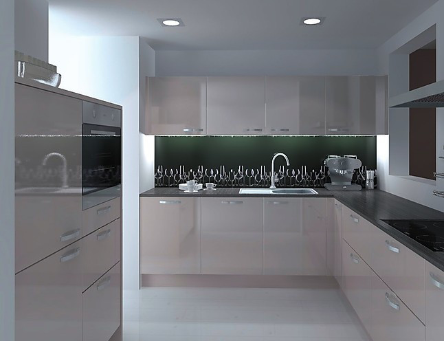 nolte musterk che einbauk che lack hochglanz grau u form. Black Bedroom Furniture Sets. Home Design Ideas