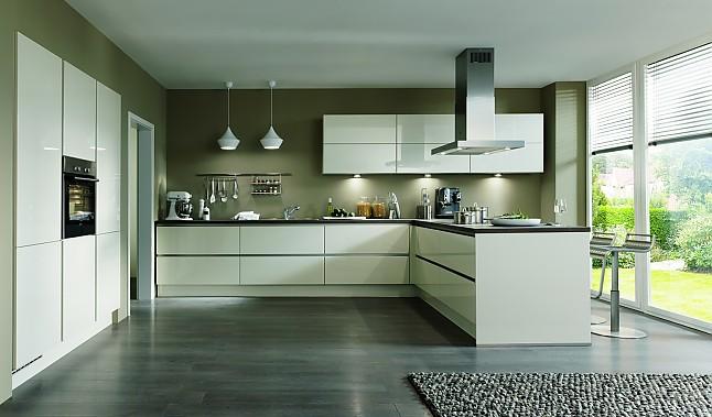 Nobilia   Lux Weiß Hochglanz Moderne Grifflose L Küche Mit Halbinsel