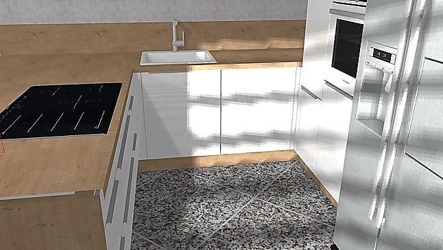 Landhausküche Mit Side By Side Kühlschrank : Nobilia musterküche hochglanz u küche mit bosch geräten und side by