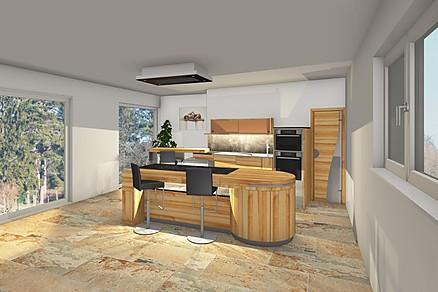 Moderne Holzküche - 3D Küchenplanung bei Pfister