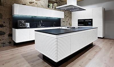 Weiße Designerküche Modern ART CONTURA aus dem Hause Allmilmö