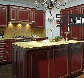 hausmarke musterk che sch ne rote klassische landhausk che aus massivholz ausstellungsk che in. Black Bedroom Furniture Sets. Home Design Ideas