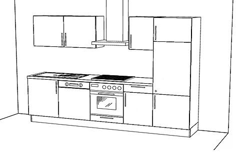 Häcker-Musterküche Küchenzeile ohne E-Geräte 290 cm lang ...