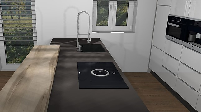 Nobilia-Musterküche Küche mit Küchenzeile in Hochglanz und den Top ...