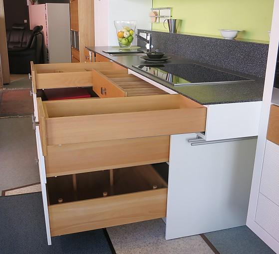 Hausmarke-Musterküche Moderne Anbauküche Front Weiß/Eiche