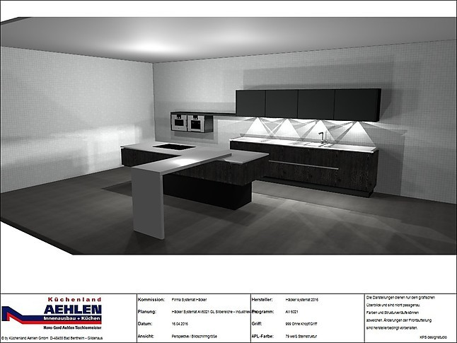 Häcker-Musterküche Luxus Industrial grifflose Design Küche Häcker ...