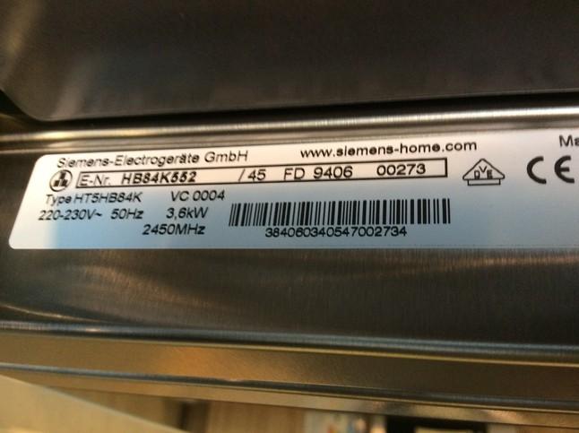 Backofen HB84K552 SIEMENS Backofen / Microwelle 45 Cm Hoch