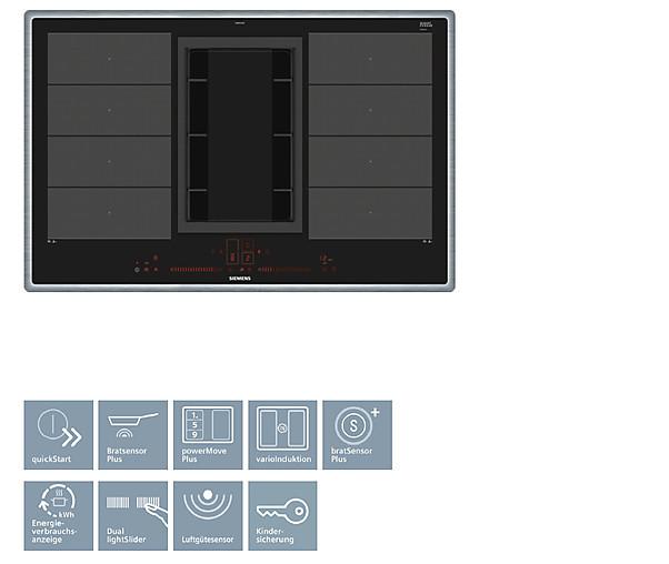 kochfeld mit dunstabzug ex845lx34e flachrahmen autark siemens induktions kochstelle mit. Black Bedroom Furniture Sets. Home Design Ideas