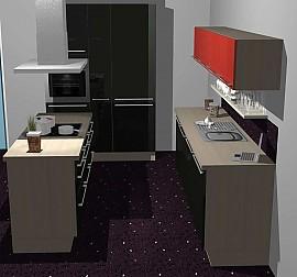 kitchenclick musterk che l k che in holz optik mit theke ausstellungsk che in reutlingen von. Black Bedroom Furniture Sets. Home Design Ideas