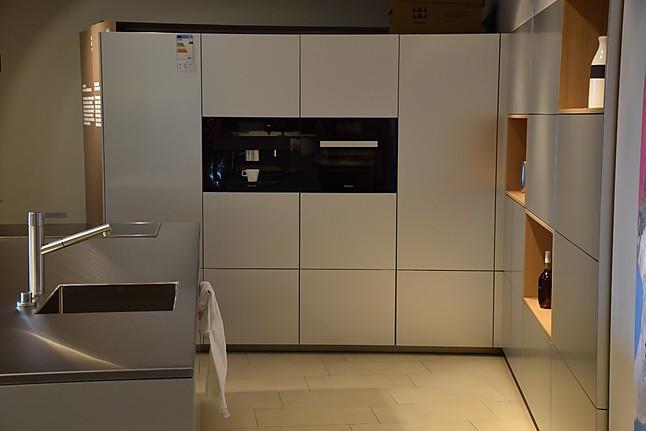 Warendorf   F90 Aluminium + N30 Furnier Eiche Hell Moderne L Küche Mit  Insel Und Sideboard In Aluminium Und Eiche Hell