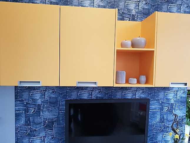 sch ller musterk che wohnlandschaft wohnzimmer anbauwand in ginster satin mit steingrau. Black Bedroom Furniture Sets. Home Design Ideas