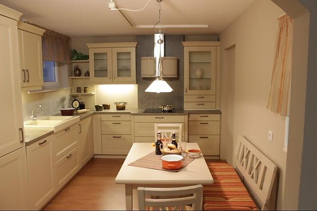 bauformat - Torino 497 crema Romantische Landhausküche in L Form, echt Lack Oberfläche