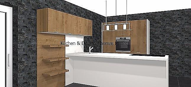 Leicht-Musterküche Leicht Orlando In Weiß/Holz Optik. Küche mit ...