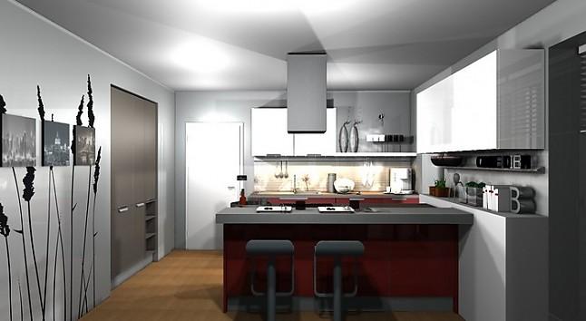 h cker musterk che h cker neo rot ausstellungsk che in. Black Bedroom Furniture Sets. Home Design Ideas