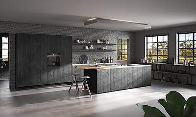 Klassische Küche im Landhausstil mit Holzfront