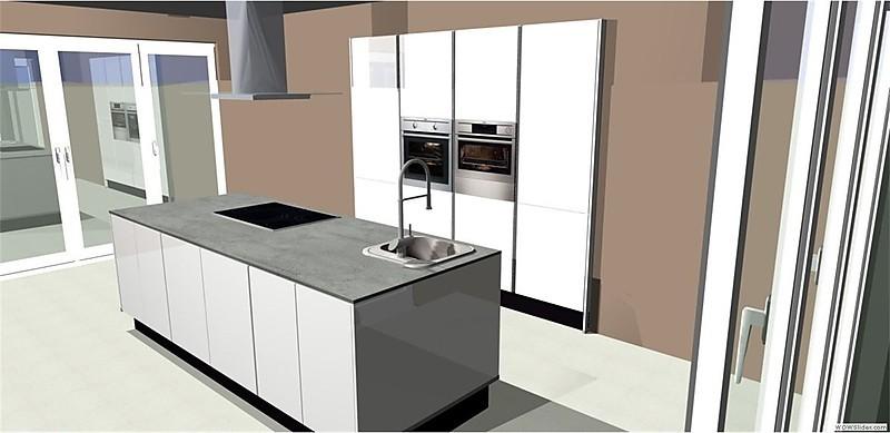 nobilia musterk che umplanbare grifflose lackk che mit insel inkl kochfeld dunstabzug. Black Bedroom Furniture Sets. Home Design Ideas